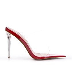 Red cleat with transparent heel