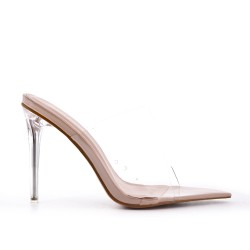 Beige cleat with transparent heel