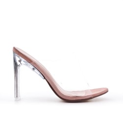 Pink cleat with transparent heel