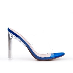 Blue cleat with transparent heel