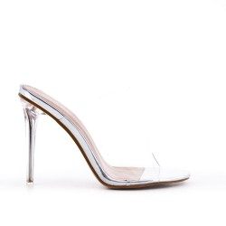 Silver cleat with transparent heel