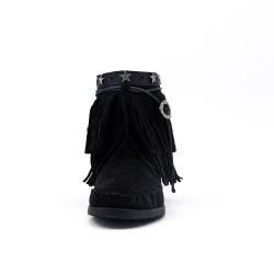 Bottine noire motif ethnique à frange