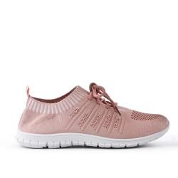 Chaussure rose en textile extensible à lacet