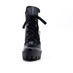Bottine noire en simili cuir avec plateforme