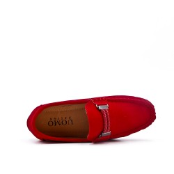 Child moccasin in red suede