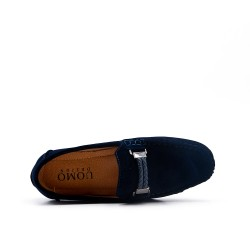 Child moccasin in blue suede