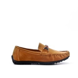Child moccasin in camel suede