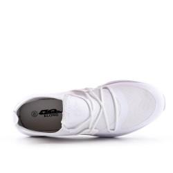 Basket blanche bi-matières à lacet
