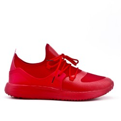 Red bi-material lace-up sneaker