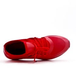 Red bi-material lace-up sneaker