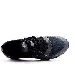 Basket noire bi-matières à lacet