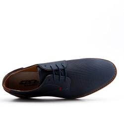 Derby bleu en simili cuir perforé à lacet