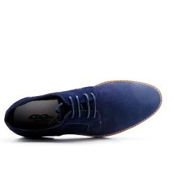 Derby bleu en simili daim à lacet