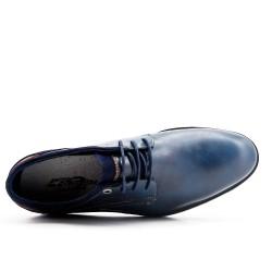 Derby bleu en simili cuir à lacet