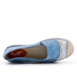 Blue espadrille with rhinestones