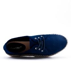 Espadrille bleu en simili daim perforé