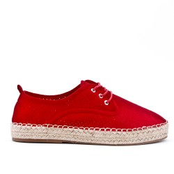 Red espadrille in perforated faux suede