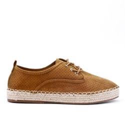 Camel espadrille in perforated faux suede