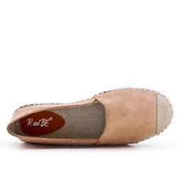 Camel espadrille in faux suede