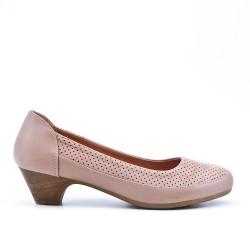 Comfort shoe beige with small heel