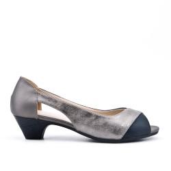 Chaussure confort noir en simili cuir