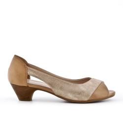 Beige comfort shoe in faux leather
