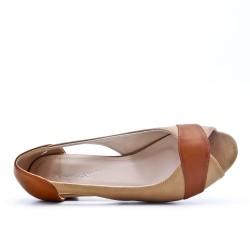 Chaussure confort beige à petit talon