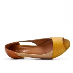 Chaussure confort jaune en simili cuir