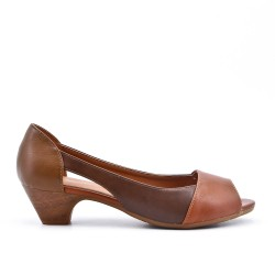 Chaussure confort camel en simili cuir