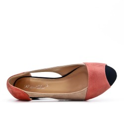 Pink comfort ballerina in faux leather