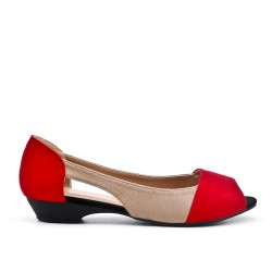 Red comfort ballerina in faux leather