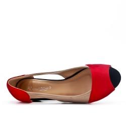 Ballerine confort rouge en simili daim