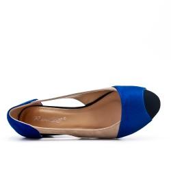 Ballerine confort bleu en simili daim