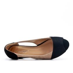 Black comfort ballerina in faux suede