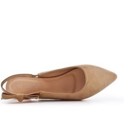 Ballerine kaki en simili daim