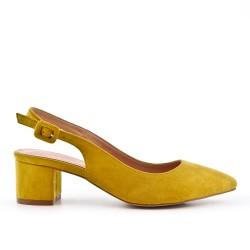 Escarpin jaune en simili daim à talon