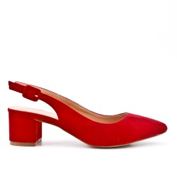 Red suede leather pumps with heels