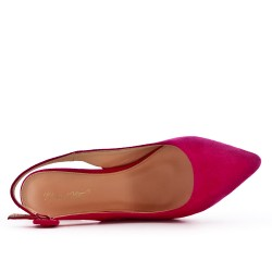 Fuchsia suede leather pumps with heels