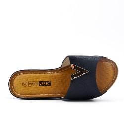 Grande Taille - Claquette compensé noire en simili cuir