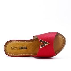 Grande Taille - Claquette compensé rouge en simili cuir