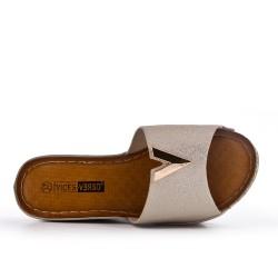 Grande Taille - Claquette compensé dorée en simili cuir