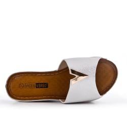 Grande Taille - Claquette compensé argent en simili cuir