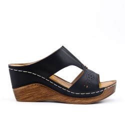 Black faux leather wedge