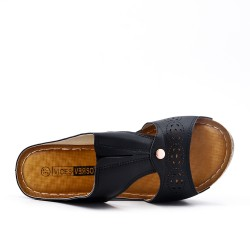 Grande Taille - Claquette noire compensé en simili cuir