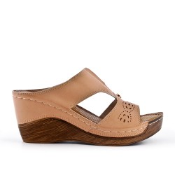 Beige faux leather wedge