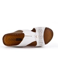 Grande Taille - Claquette blanche compensé en simili cuir