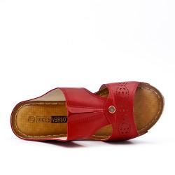 Grande Taille - Claquette rouge compensé en simili cuir