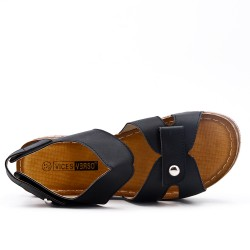 Large size - Black sandal with small wedge