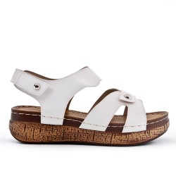 Grande taille - Sandale blanche à petit compensé