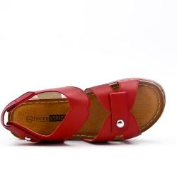 Grande taille - Sandale rouge à petit compensé